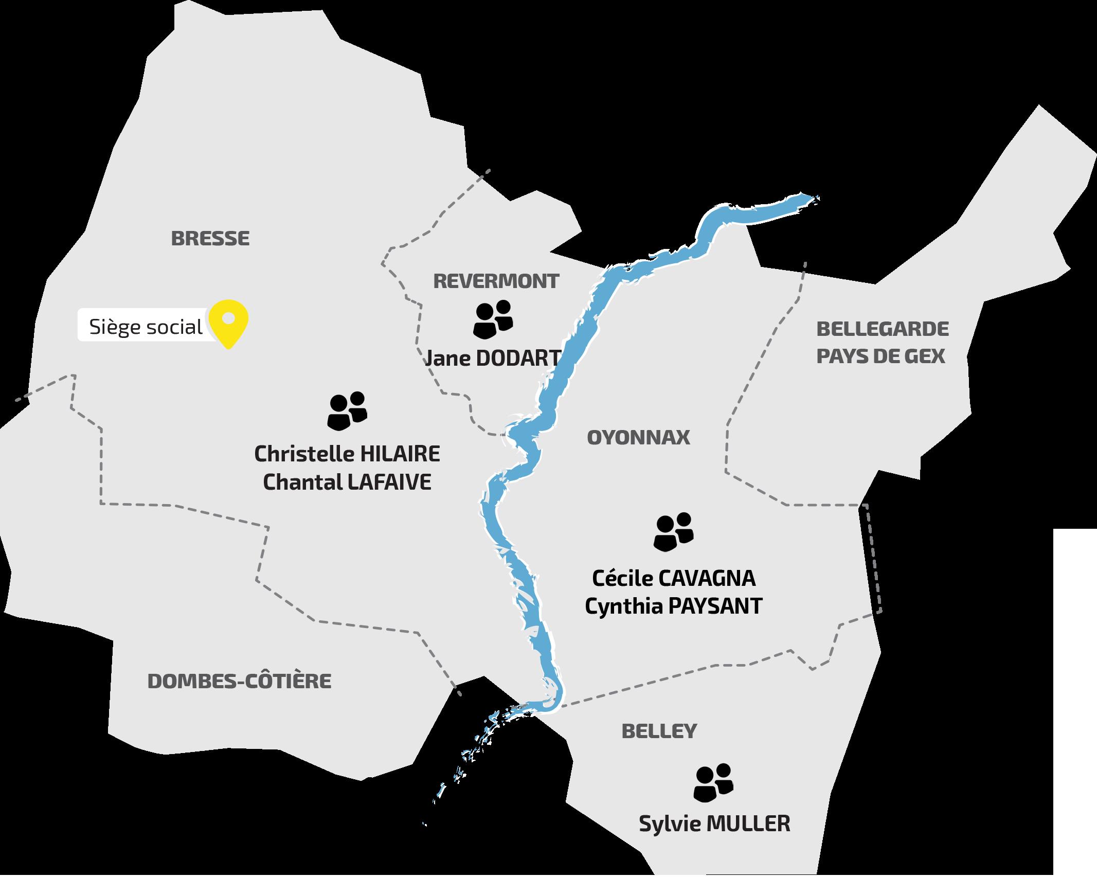 Carte répartition des Assistantes Sociales de l'Adapei de l'Ain
